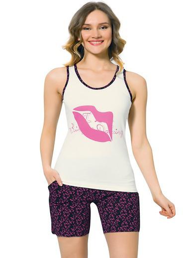Akbeniz Kadın Kalın Askılı Fuşya Cep Şortlu Pijama Takımı 710 Fuşya